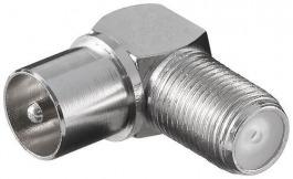 Sat F-Kupplung auf Koax (Stecker) Winkel
