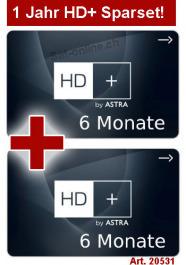 Sat Pay-TV HD Plus 1 Jahr (2x 6 Monate)
