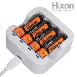 Hixon 4x AA Li-Ion Akku 1,5V + Ladegerät