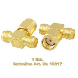 RP-SMA Splitter Gold 2 Antennen 1 Ansch